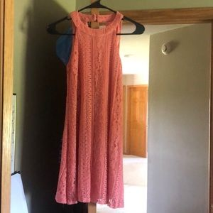 High-necked coral lace dress